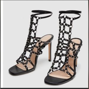 Zara Cage Studded Heals Leather Sandals